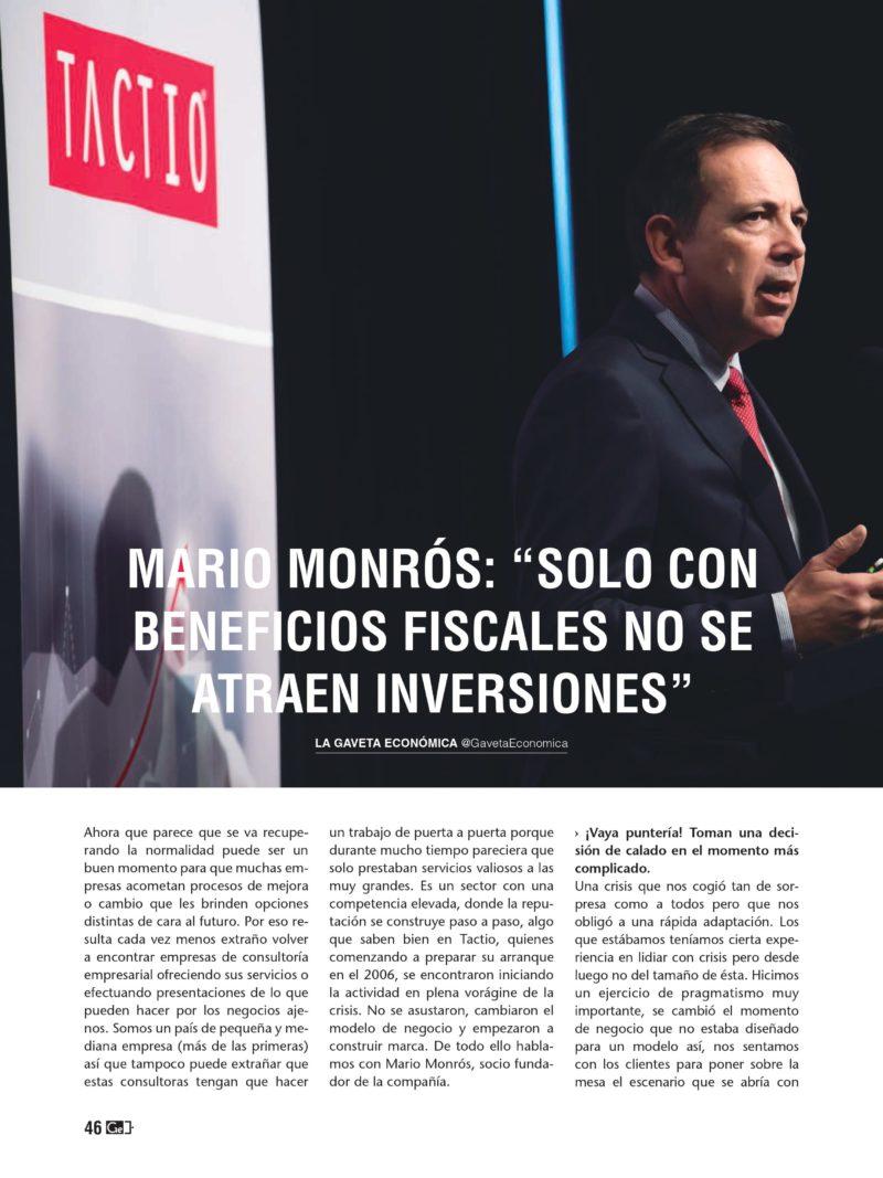 Mario Monrós en la Gaveta Económica