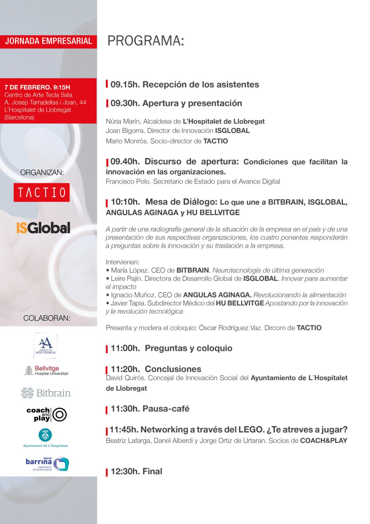 Programa Jornada Empresarial TACTIO de innovación.