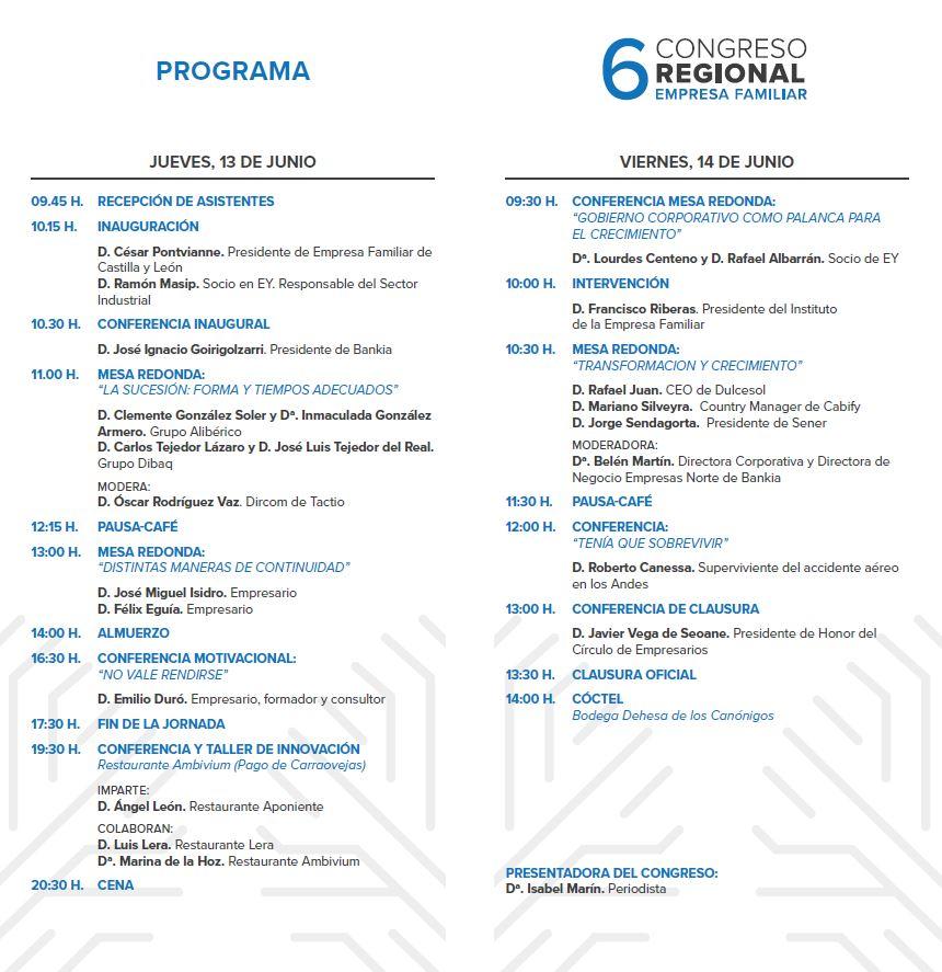 Programa Congreso de Empresa Familiar Castilla y León
